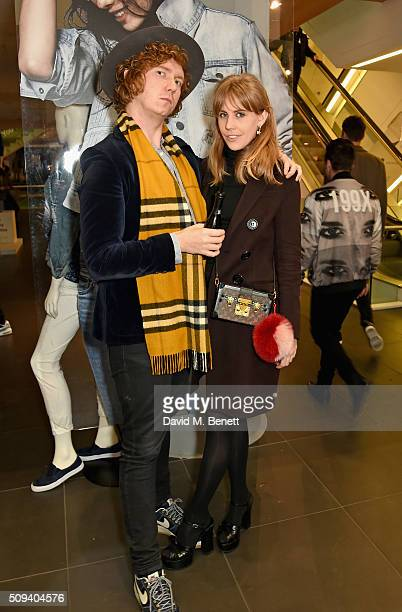 Hugh Harris and India Rose James attend the Gap Partnership with Lion Coffee Records Launch Party at Gap Flagship Store Oxford Street on February 10...