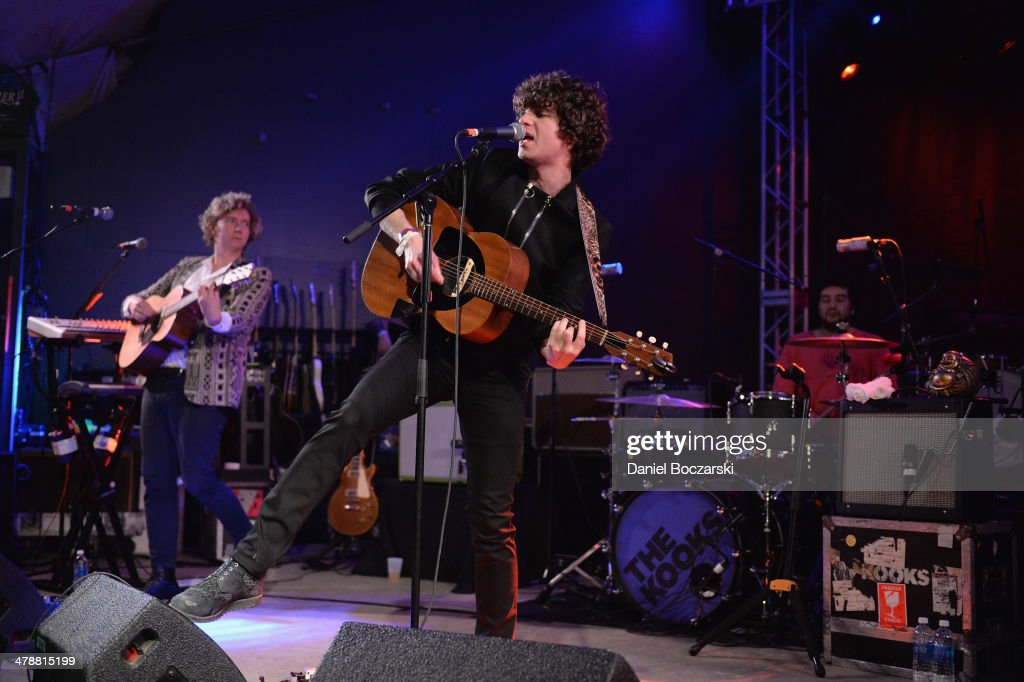 Hugh Harris, Luke Pritchard and Paul Garred of The Kooks perform on stage at Stubb's on March 14, 2014 in Austin, United States.