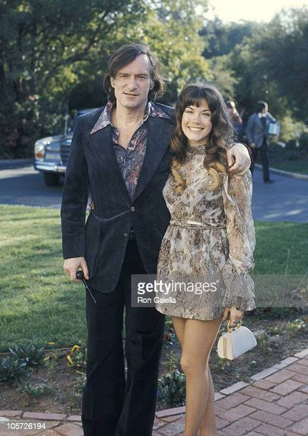 Hugh Hefner and Barbi Benton during Warren Cowan's Wedding at Home of Warren Cowan in Beverly Hills California United States