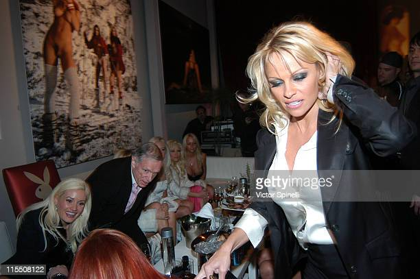 Hugh Hefner and Bunnies with Pamala Anderson during Hugh Hefner and International Images Launch the Playboy Legacy Collection at Republic at Republic...