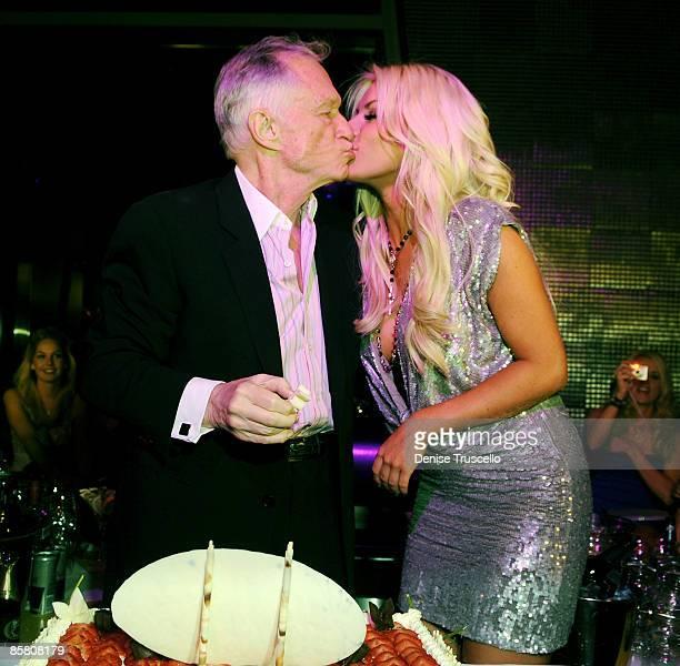 Hugh Hefner and Crystal Harris attend Hugh Hefner's 83rd birthday dinner at Nine Steakhouse at the Palms Resort Casino on April 4 2009 in Las Vegas...
