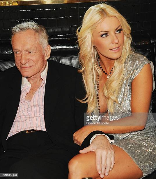 Hugh Hefner and Crystal Harris attend Hugh Hefner's 83rd birthday at the Playboy Club at the Palms Resort Casino on April 4 2009 in Las Vegas Nevada