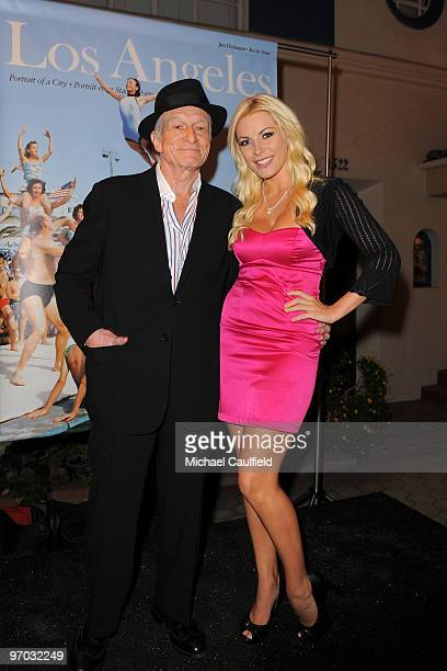 Hugh Hefner and Crystal Harris attend the Los Angeles TASCHEN book launch party at Cross Roads Of The World on November 19 2009 in Los Angeles...