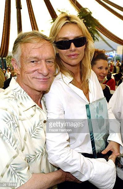 Hugh Hefner and his former wife Kimberley Conrad Hefner who both accepted Wildlife achievement awards at the 9th annual 'Safari Brunch' at the...
