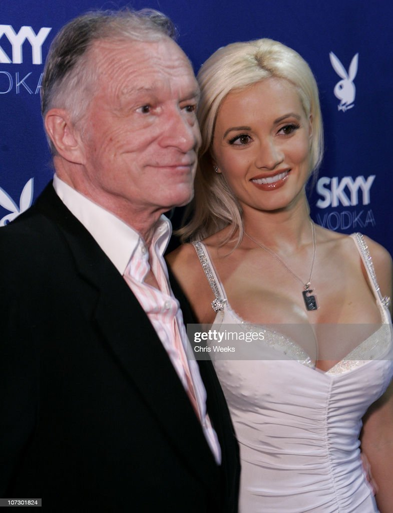 <a gi-track='captionPersonalityLinkClicked' href=/galleries/search?phrase=Hugh+Hefner&family=editorial&specificpeople=202106 ng-click='$event.stopPropagation()'>Hugh Hefner</a> and <a gi-track='captionPersonalityLinkClicked' href=/galleries/search?phrase=Holly+Madison&family=editorial&specificpeople=227275 ng-click='$event.stopPropagation()'>Holly Madison</a> during Skyy Vodka Celebrates Playboy's August Issue With Playmate of the Year Kara Monaco - Red Carpet at Mood in Hollywood, California, United States.