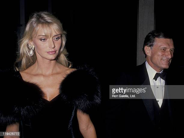 Hugh Hefner and Kimberley Conrad attend Princess Grace Foundation Gala Honoring Cary Grant on October 19 1988 at the Beverly Hilton Hotel in Beverly...