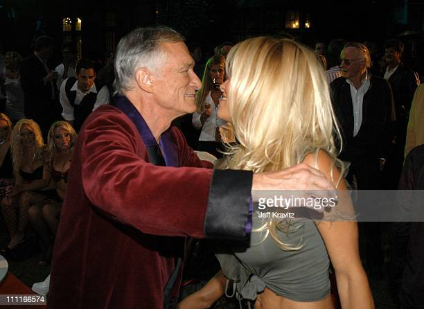 Hugh Hefner and Pamela Anderson during The Official Launch Party For Spike TV At The Playboy Mansion Inside at The Playboy Mansion in Bel Air...
