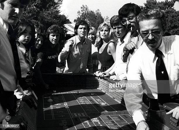 Hugh Hefner and Sondra Theodore during Hugh Hefner Hosts a Tennis and Crumpet Tournament May 21 1977 at Playboy Mansion in Beverly Hills California...
