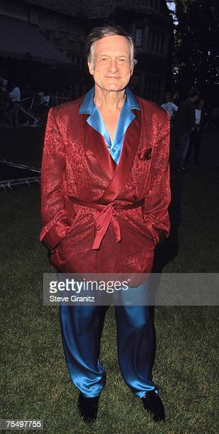 Hugh Hefner at the Playboy Mansion in Beverly Hills California