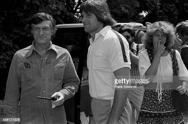 Hugh Hefner hosts his guest Bruce Jenner at the Playboy Mansion in May 1979 in Los Angeles California