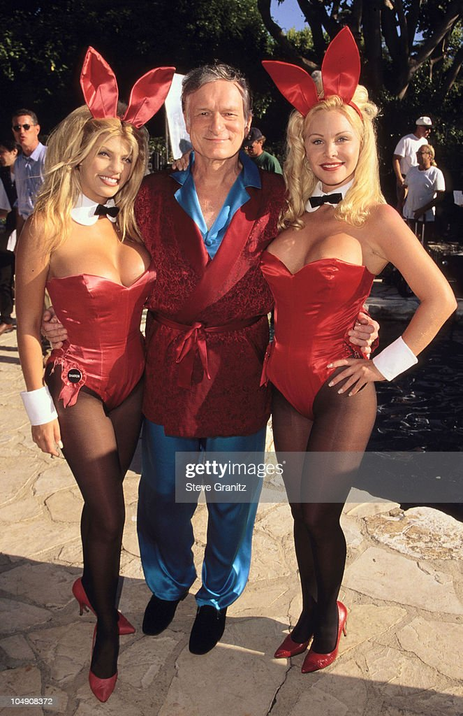 Hugh Hefner Playboy Bunnies during Rembrandts Video Shoot for the song 'This House is not a Home' at Playboy Mansion in Beverly Hills California...