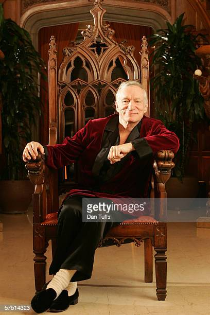 Hugh Hefner poses for a photo on Nov 17 2005 in Los Angeles California
