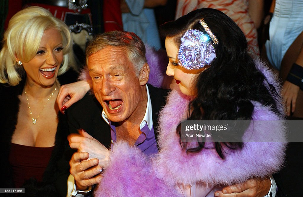 Hugh Hefner with Dita Von Teese during Playboy Mansion West Welcomes the 'Dewar's 12 Playboy Lounge' Tour at The Playboy Mansion in Los Angeles, California, United States.