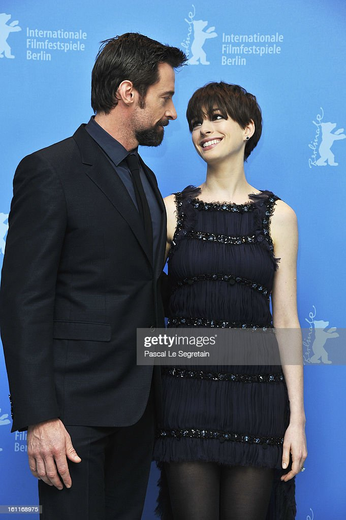 <a gi-track='captionPersonalityLinkClicked' href=/galleries/search?phrase=Hugh+Jackman&family=editorial&specificpeople=202499 ng-click='$event.stopPropagation()'>Hugh Jackman</a> and <a gi-track='captionPersonalityLinkClicked' href=/galleries/search?phrase=Anne+Hathaway+-+Actress&family=editorial&specificpeople=11647173 ng-click='$event.stopPropagation()'>Anne Hathaway</a> attend the 'Les Miserables' Photocall during the 63rd Berlinale International Film Festival at Grand Hyatt Hotel on February 9, 2013 in Berlin, Germany.