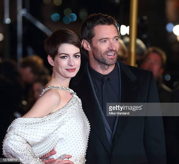 Hugh Jackman and Anne Hathaway attend the World Premiere of 'Les Miserables' at Odeon Leicester Square on December 5 2012 in London England