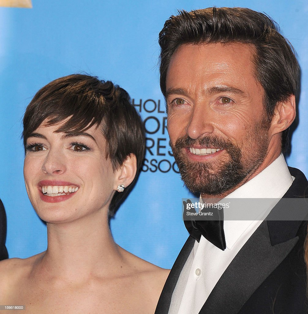 Hugh Jackman and Anne Hathaway poses at the 70th Annual Golden Globe Awards at The Beverly Hilton Hotel on January 13, 2013 in Beverly Hills, California.