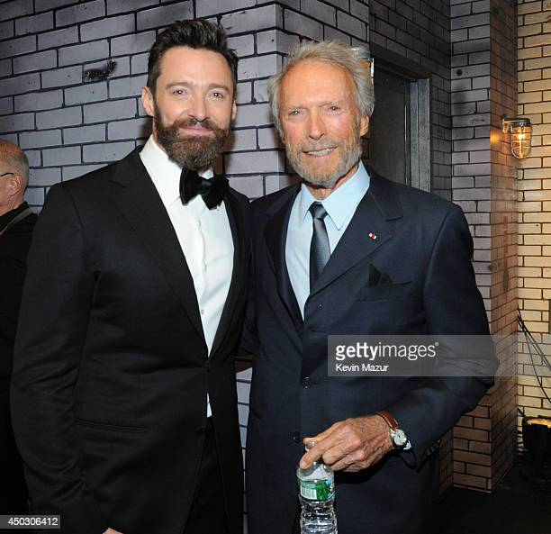 Hugh Jackman and Clint Eastwood attend the 68th Annual Tony Awards at Radio City Music Hall on June 8 2014 in New York City