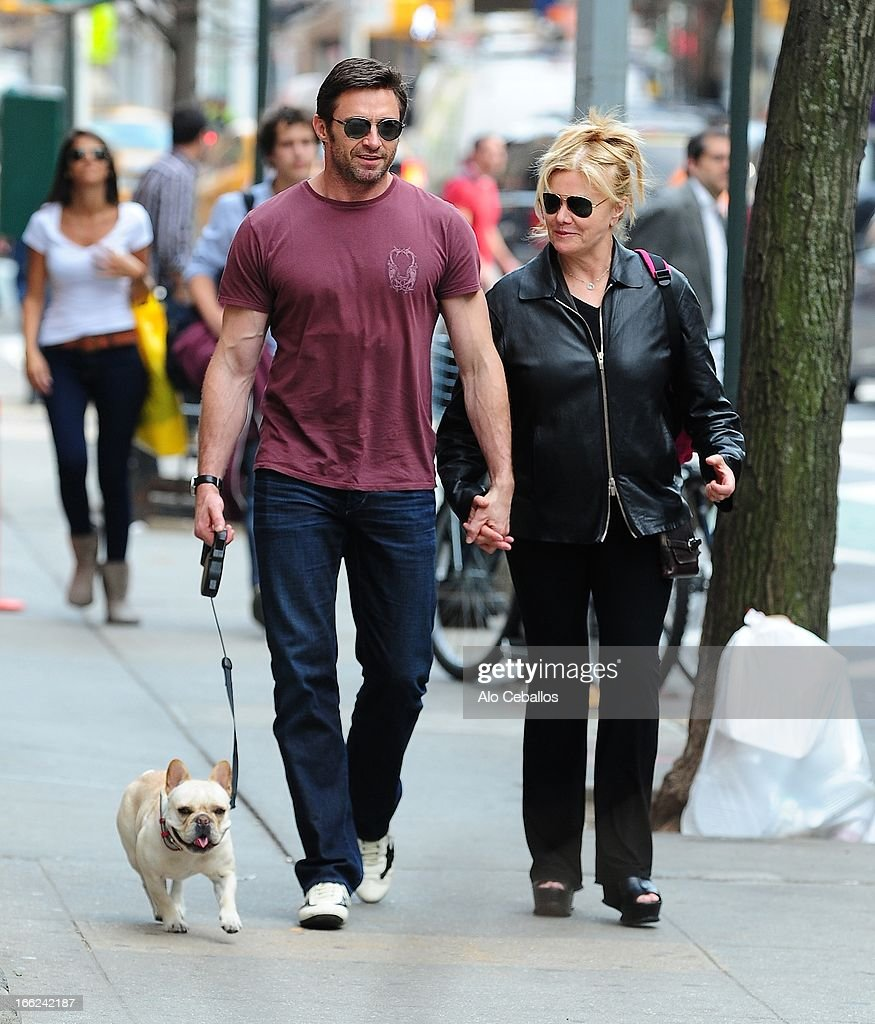 Hugh Jackman and Deborra-Lee Furness are seen in the West Village on April 10, 2013 in New York City.