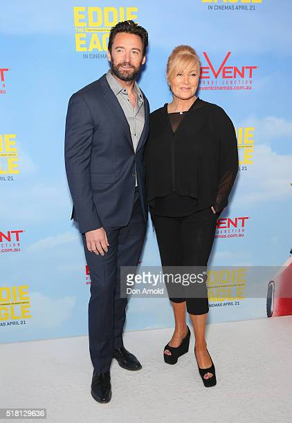 Hugh Jackman and DeborraLee Furness arrive ahead of the Eddie The Eagle screening at Event Cinemas Bondi Junction on March 30 2016 in Sydney Australia