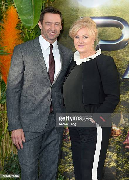 Hugh Jackman and DeborraLee Furness attend the World Premiere of 'Pan' at Odeon Leicester Square on September 20 2015 in London England