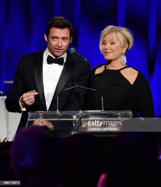 Hugh Jackman and DeborraLee Furness speak onstage during Gabrielle's Angel Foundation Hosts Angel Ball 2013 at Cipriani Wall Street on October 29...