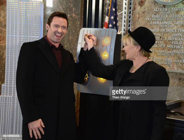 Hugh Jackman and DeborraLee Furness visit the Empire State Building in celebration of Australia Day on January 24 2014 in New York City