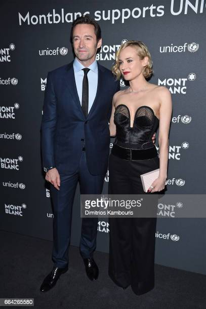 Hugh Jackman and Diane Kruger attend the Montblanc UNICEF Gala Dinner at the New York Public Library on April 3 2017 in New York City