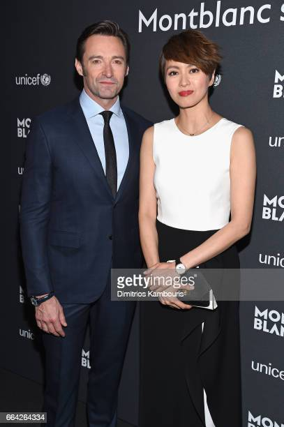Hugh Jackman and Gigi Leung attend the Montblanc UNICEF Gala Dinner at the New York Public Library on April 3 2017 in New York City