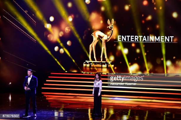 Hugh Jackman and Iris Berben on stage during the Bambi Awards 2017 show at Stage Theater on November 16 2017 in Berlin Germany