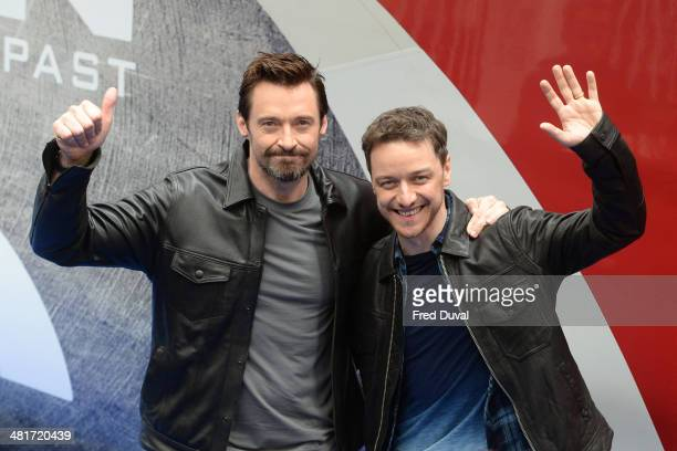 Hugh Jackman and James McAvoy unveil the 'X Men Days Of Future Past' wrapped train on March 31 2014 in London England