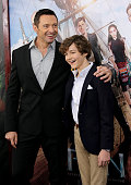 Hugh Jackman and Levi Miller attend 'Pan' premiere at Ziegfeld Theater on October 4 2015 in New York City