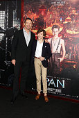 Hugh Jackman and Levi Miller attend the 'Pan' New York Premiere Outside Arrivals at Ziegfeld Theater on October 4 2015 in New York City