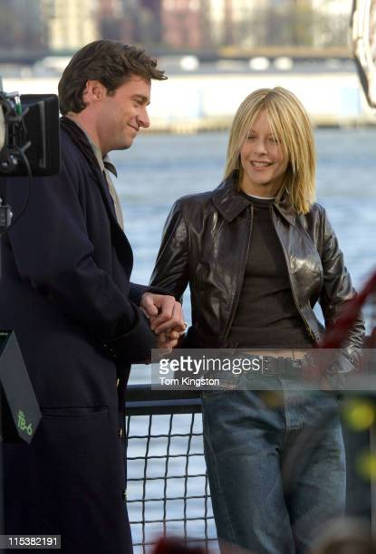Hugh Jackman and Meg Ryan filming 'Kate Leopold' in New York City