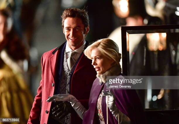 Hugh Jackman and Michelle Williams filming on location for 'The Greatest Showman' at 60 Centre Street on April 1 2017 in New York City