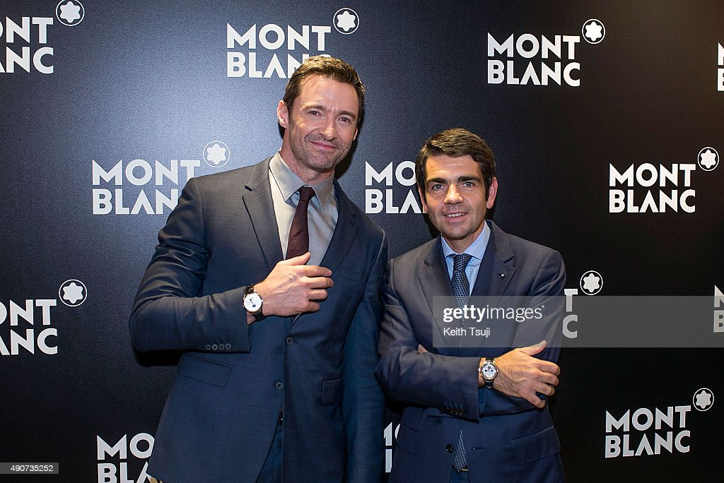 Hugh Jackman and Montblanc CEO Jerome Lambert attend the Montblanc press conference during the Watches and Wonders 2015 Exhibition in Hong Kong...