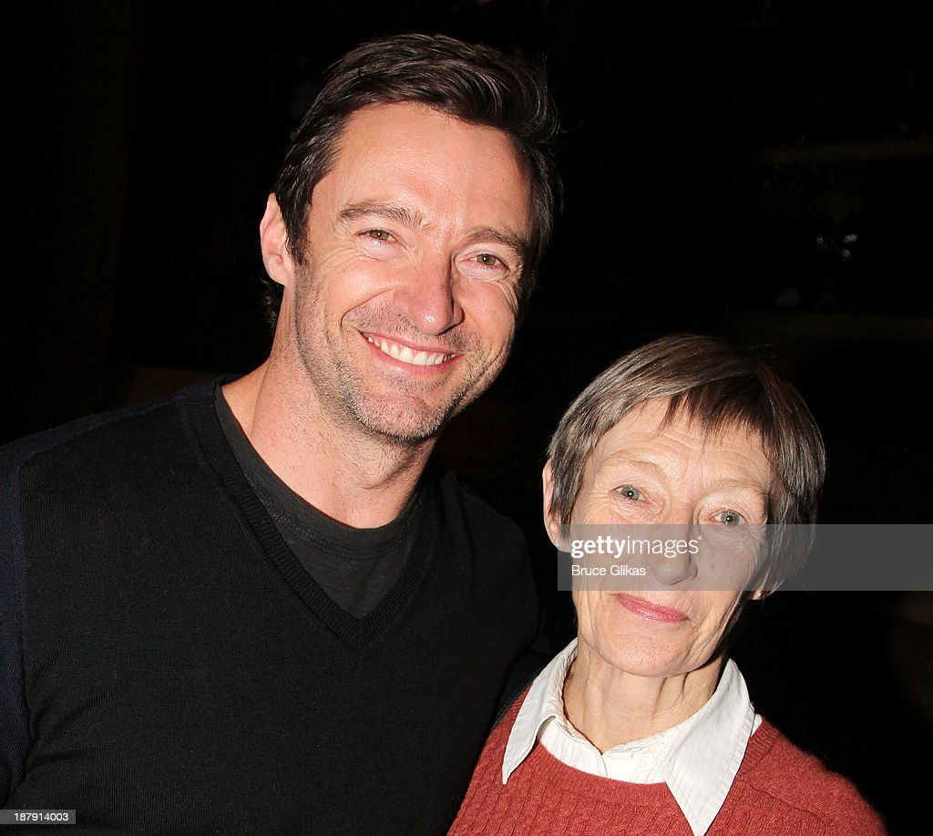 <a gi-track='captionPersonalityLinkClicked' href=/galleries/search?phrase=Hugh+Jackman&family=editorial&specificpeople=202499 ng-click='$event.stopPropagation()'>Hugh Jackman</a> and mother Grace McNeil pose backstage at 'Big Fish' on Broadway at The Neil Simon Theater on November 13, 2013 in New York City.