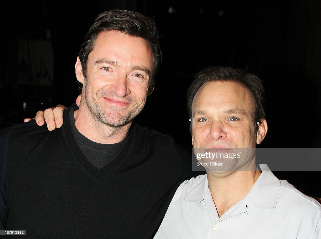 <a gi-track='captionPersonalityLinkClicked' href=/galleries/search?phrase=Hugh+Jackman&family=editorial&specificpeople=202499 ng-click='$event.stopPropagation()'>Hugh Jackman</a>, and <a gi-track='captionPersonalityLinkClicked' href=/galleries/search?phrase=Norbert+Leo+Butz&family=editorial&specificpeople=206859 ng-click='$event.stopPropagation()'>Norbert Leo Butz</a> pose backstage at 'Big Fish' on Broadway at The Neil Simon Theater on November 13, 2013 in New York City.