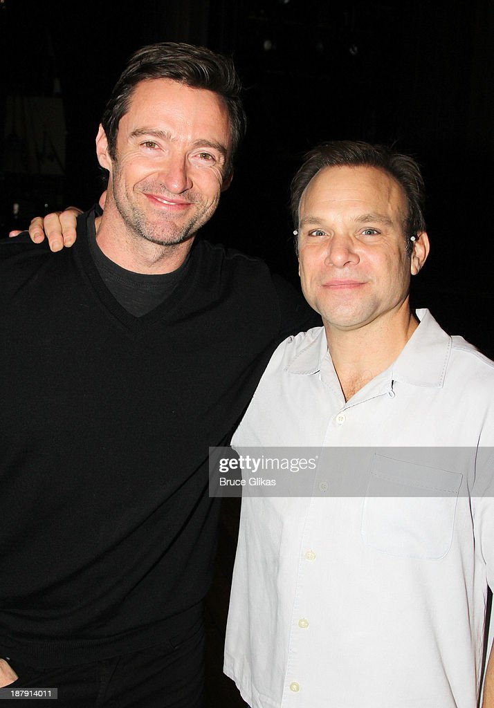 Hugh Jackman, and Norbert Leo Butz pose backstage at 'Big Fish' on Broadway at The Neil Simon Theater on November 13, 2013 in New York City.