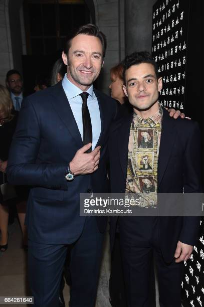 Hugh Jackman and Rami Malek attend the Montblanc UNICEF Gala Dinner at the New York Public Library on April 3 2017 in New York City