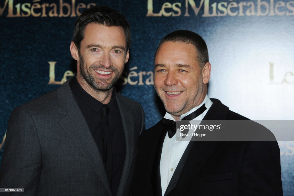Hugh Jackman and Russell Crowe attend the world premiere of Les Miserables at The Odeon Leicester Square on December 5, 2012 in London, England.