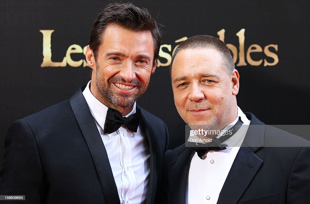 <a gi-track='captionPersonalityLinkClicked' href=/galleries/search?phrase=Hugh+Jackman&family=editorial&specificpeople=202499 ng-click='$event.stopPropagation()'>Hugh Jackman</a> and <a gi-track='captionPersonalityLinkClicked' href=/galleries/search?phrase=Russell+Crowe&family=editorial&specificpeople=202609 ng-click='$event.stopPropagation()'>Russell Crowe</a> pose during the Australian premiere of 'Les Miserables' at the State Theatre on December 21, 2012 in Sydney, Australia.