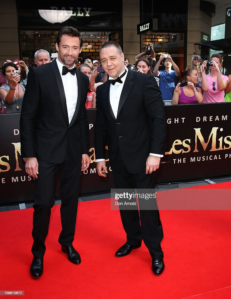 Hugh Jackman and Russell Crowe pose during the Australian premiere of 'Les Miserables' at the State Theatre on December 21, 2012 in Sydney, Australia.