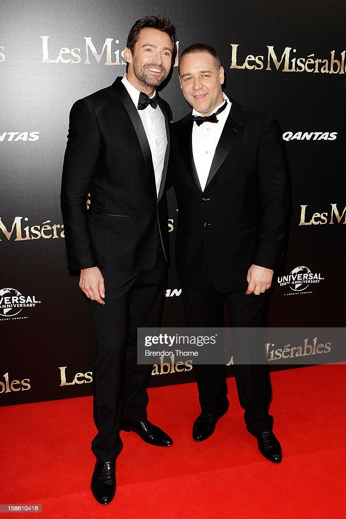 Hugh Jackman and Russell Crowe walk the red carpet during the Australian premiere of 'Les Miserables' at the State Theatre on December 21, 2012 in Sydney, Australia.