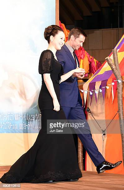 Hugh Jackman and Seiko Matsuda attend the Japan Premiere of 'Pan' at the Roppongi Hills on October 1 2015 in Tokyo Japan