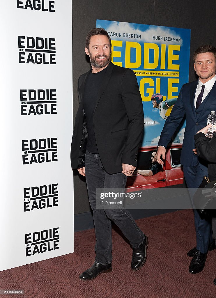 Hugh Jackman (L) and Taron Egerton attend the 'Eddie The Eagle' New York screening at Chelsea Bow Tie Cinemas on February 23, 2016 in New York City.