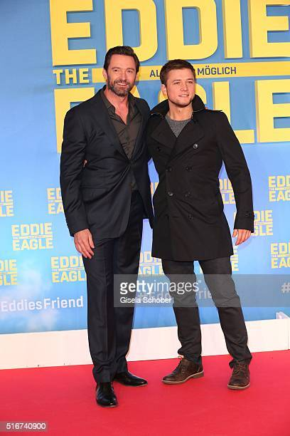 Hugh Jackman and Taron Egerton during the 'Eddie the Eagle' premiere at Mathaeser Filmpalast on March 20 2016 in Munich Germany