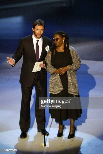 Hugh Jackman and Whoopi Goldberg during 57th Annual Primetime Emmy Awards Show at The Shrine in Los Angeles California United States
