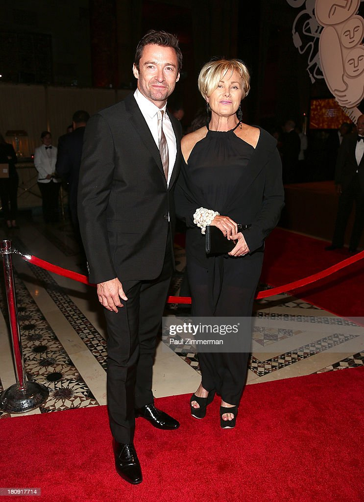 Hugh Jackman (L) and wife Deborra-Lee Furness attend the 14th Annual New Yorkers For Children Fall Gala at Cipriani 42nd Street on September 17, 2013 in New York City.