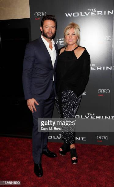 Hugh Jackman and wife DeborraLee Furness attend the UK Premiere of 'The Wolverine' at Empire Leicester Square on July 16 2013 in London England