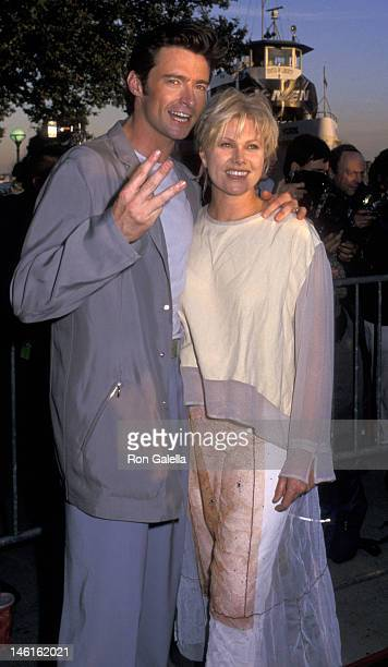 Hugh Jackman and wife DeborraLee Jackman attend the world premiere of 'XMen' on July 12 2000 at Ellis Island in New York City